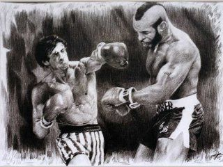 "Rocky (Sylvester Stallone) vs. Mr. T (Laurence Tureaud) Sketch Portrait, Charcoal Graphite Pencil Drawing Poster   11"" x 14"" Print (WU177)"
