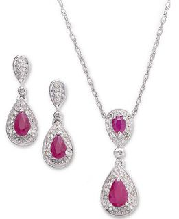 Sterling Silver Jewelry Set, Ruby (1 1/5 ct. t.w.) and Diamond (1/10 ct. t.w.) Pendant and Earrings   Jewelry & Watches