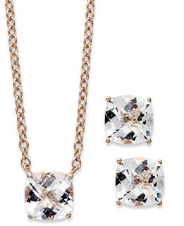 14k Rose Gold over Sterling Silver Jewelry Set, Cushion Cut White Quartz Earrings and Pendant (5 ct. t.w.)   Jewelry & Watches