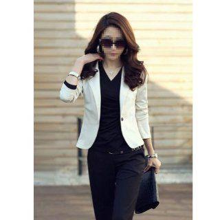 NEEWER� Lapel One Botton Suit Blazer Long sleeved OL Jacket Outwear Size (XXL, Beige): Beauty