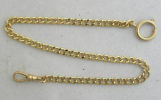 #146 1 New Gold Plated Pocket Watch Chain With Large Spring Ring and Swivel Clasp: Watches