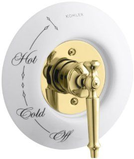 KOHLER K T134 4D PB Antique Rite Temp Pressure Balancing Valve Trim with Lever Handle, Requires Ceramic Dial Plate, Valve Not Included, Vibrant Polished Brass   Single Handle Tub And Shower Faucets