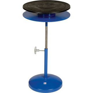 Vestil Heavy-Duty Manual Turntable — Double Tier, With Pedestal, 300-Lb. Capacity, 24in. Dia., 25in.–36in.H, Model# TT-24-DPED  Turntables