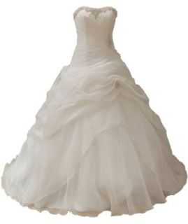 Faironly Organza Strapless Bridal Wedding Dresses (XS) at  Women�s Clothing store