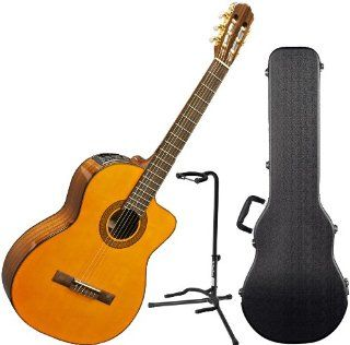 Takamine EG124C G Series Cutaway Acoustic Electric Classical Guitar w/Hard Case and Stand Musical Instruments