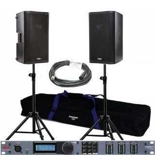 "2 QSC HPR122i 12"" Powered PA Loud Speaker + 1 DBX Driverack PX Powered Speaker Optimizer + 5, 20' Whirlwind EMC20 XLR Cables +2 Samson TS50   Tripod Monitor Stands + 2 Unique Squared Vinyl Stickers: Musical Instruments"