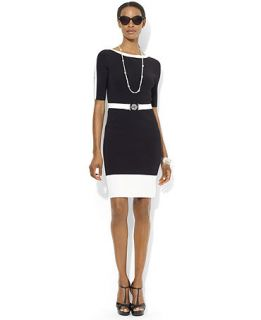 Lauren Ralph Lauren Short Sleeve Belted Boat Neck Sweater Dress   Dresses   Women