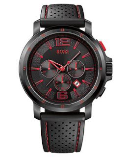 Hugo Boss Watch, Mens Chronograph Black Perforated Rubber Strap 1512597   Watches   Jewelry & Watches