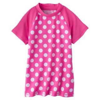 Girls Short Sleeve Polka Dot Swim Rashguard