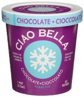 Ciao Bella Chocolate Sorbetto, 16 Ounce Cups (Pack of 4)  Hot Cocoa Mixes  Grocery & Gourmet Food