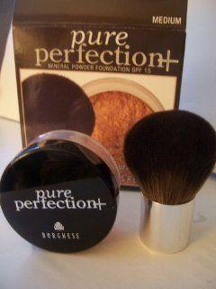 Borghese   Pure Perfection Mineral Powder Foundation Spf 15 + Natural Bristle Brush Set   Medium  Foundation Makeup  Beauty
