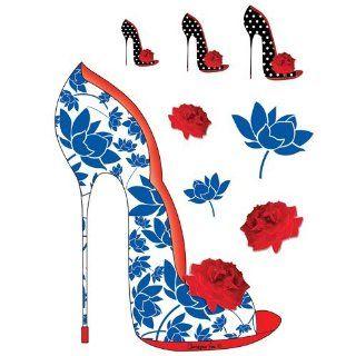 Blue Floral Shoe (Shoes Shoes Shoes)   Designer Laptop Skin Tattoo Laptop Stickers by Christopher VINE Design (Australia): Computers & Accessories