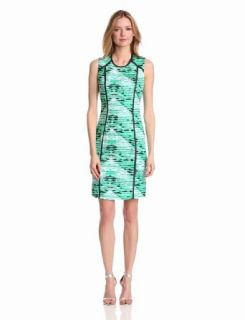Calvin Klein Women's Seamed Shift Dress, Emerald/Nile Multi, 2