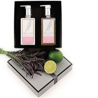 organic body lotion & bath & shower gel box by willow organic beauty