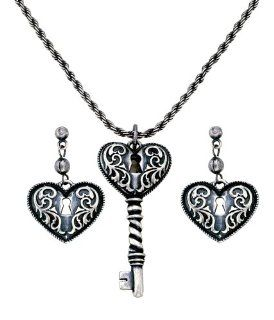 Montana Silversmiths Key To My Heart Antiqued Filigree Earring and Necklace Jewelry Set: Jewelry