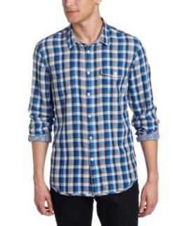 Calvin Klein Jeans Men's Flicker Plaid Long Sleeve Woven Shirt, Victory Blue, Small at  Men�s Clothing store