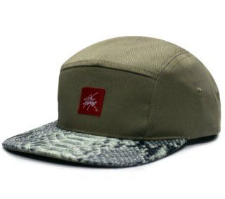 City Hunter Cn290 Snake Skin 5 Panel Biker Hat   Khaki/black: Everything Else