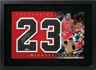 Michael Jordan Chicago Bulls Autographed Framed Jersey Numbers Piece : Sports Related Collectibles : Sports & Outdoors