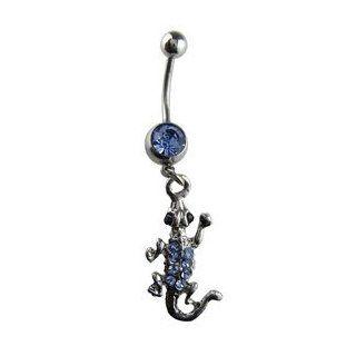 Blue Jewel Lizard Belly Button Ring   Blue Gem Sterling Silver Lizard Navel Ring Toys & Games