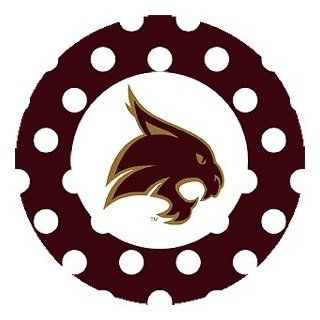 Texas State Bobcats Dots Absorbent Beverage Coaster, Set of 8: Kitchen & Dining