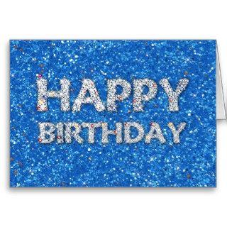Happy Birthday Blue Glitter Greeting Card