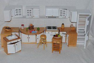 25 tlg. Set K�che Ma�stab 1:12 _ HOLZ Schrank M�bel Set Nostalgie Miniatur: Spielzeug