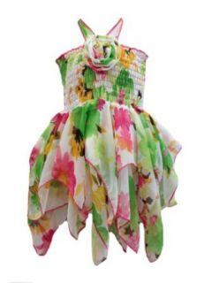 Lele Girls Green & Pink Floral Handkerchief Sun Dress 4T (3787) Playwear Dresses Clothing