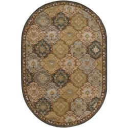 Hand tufted Coliseum Blue Wool Rug (8' x 10' Oval) Round/Oval/Square