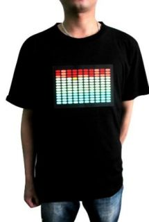 Simplicity Flashing Sound Activated Light Up Pattern T Shirt   Black: Clothing
