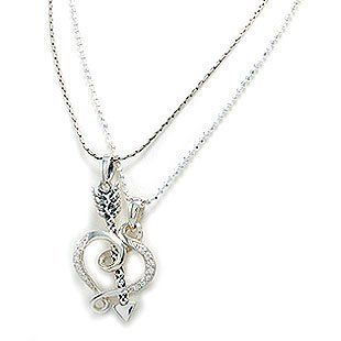 Lovers Jewelry Set, Heart and Arrow, His and Hers Interlocking Necklaces: Jewelry