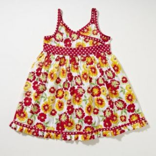 Little Bitty Floral Print Halter Sundress , RED /FLOWER PRINT, 2T: Clothing