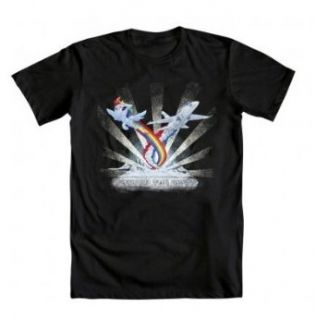 My Little Pony Brony Exceed the Speed Rainbow Dash Adult Black T Shirt: Clothing