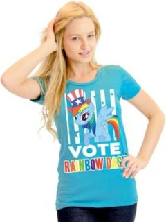 My Little Pony Vote Rainbow Dash President Hat Juniors Light Blue T Shirt: Clothing