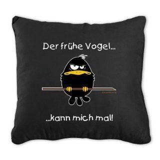 Der fr�he Vogel kann mich mal Kissen   schwarz, Kissen, inkl. F�llung, 100% Baumwolle, 155g/m.: Sport & Freizeit