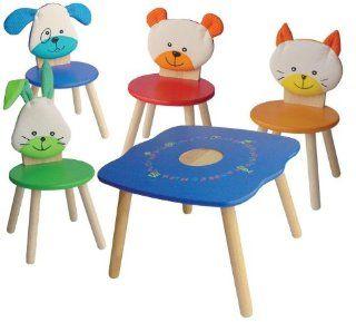 Kinderm�bel Kindersitzgruppe ein Kindertisch und vier Kinderst�hle I'm toy Tiere Hund, Katze, B�r und Hase: Spielzeug
