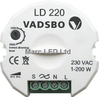 Vadsbo, Energy Saving Dimmerswitch, Trailing Edge, Universal Dimmer LD220, max. load 200W, Universal Dimmschalter; Universalen Tast Dimmer Beleuchtung