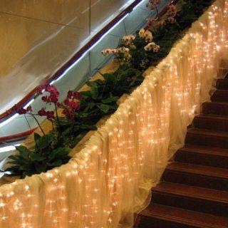 Fuloon Led Vorhang LED Lichterkette 6M x 1M 256 LED Outdoor Au�en Party weihnachten String Fairy Hochzeit Vorhang Licht 8 Modi Farbe ausw�hlbar (Warm Wei�): Beleuchtung