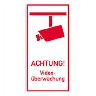 Schild ACHTUNG! Video�berwachung Alu 40x20cm: Baumarkt