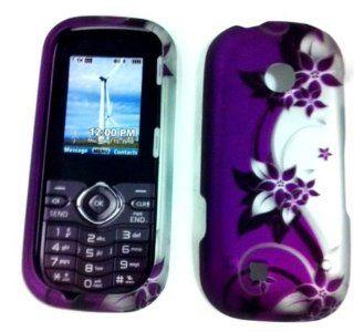 LG Cosmos 2 VN251 (Sprint) Rubberized Design Cover   Purple/Silver Vines