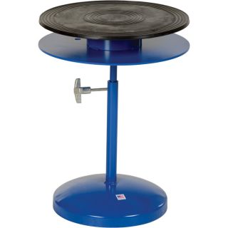 Vestil Heavy-Duty Manual Turntable — Double Tier, With Pedestal, 300-Lb. Capacity, 18in. Dia., 25in.–36in.H, Model# TT-18-DPED  Turntables