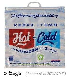 Insulated Bag  Thermal Bag  Hot Cold Bag (5 Jumbo Bags) Reusable Lunch Bags Kitchen & Dining