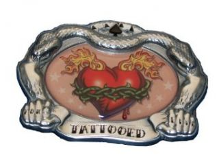 Tattooed Heart Belt Buckle Tattoo Thorns Flames COOL: Clothing