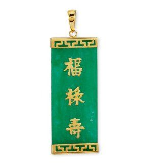 14k Solid Gold Chinese Lucky Symbols Green Jade Pendant: Jewelry