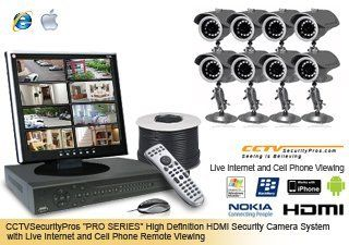"(FREE 16 Channel DVR Upgrade & LCD Monitor) ""PRO SERIES"" 8 Camera Complete Indoor/Outdoor Color Sony Super HAD CCD 420 Lines Indoor/Outdoor IR Bullet Security Camera System with H.264 DVR, HDMI High Definition, Internet (IE, MAC) and Cell Pho"