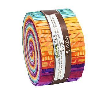 "Lunn Studios GEOSCAPES ARTISAN BATIKS Roll Up 2.5"" Precut Cotton Fabric Quilting Strips Jelly Roll Assortment Robert Kaufman RU 265 40"