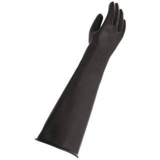 """MAPA Trident 287 Natural Latex Glove, Chemical Resistant, 0.035"""" Thickness, 23"""" Length, Size 9, Black Chemical Resistant Safety Gloves Industrial & Scientific"""