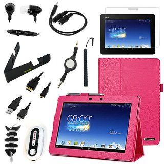 BIRUGEAR 11 Items Essential Accessories Bundle kit for Asus Memo Pad FHD 10 ME302C   10.1'' Full HD IPS Display Tablet    Hot Pink SlimBook Leather Folio Stand Case Cover included Computers & Accessories