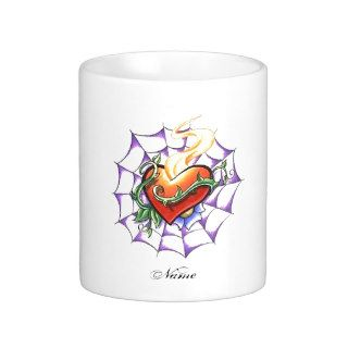 Cool Heart Thorn and Spider Web tattoo Coffee Mug
