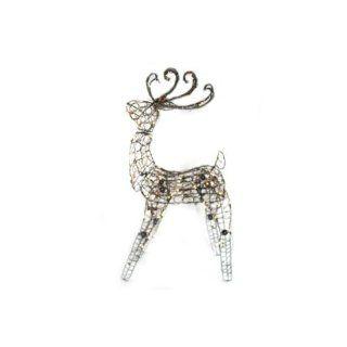 "48"" Lighted Brown Grapevine Multi Posing Deer Christmas Yard Art Decoration   Lighted Reindeer"