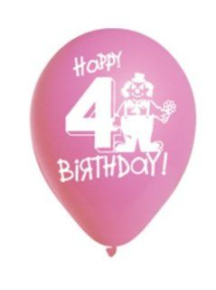"Happy 4th Birthday Assorted 12"" Pastel Balloons   6pk: Toys & Games"